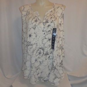 Top 3X Lucky Brand Floral Chiffon Hi Lo Plus Size